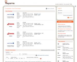 NYC to Johannesburg: Vayama Booking Page
