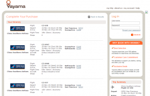 SF to Nepal: Vayama Booking Page