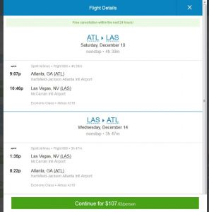 ATL-LAS: Priceline Booking Page ($108)