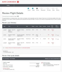 Boston to Brussels: Air Canada Booking Page
