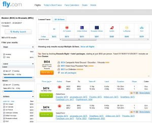 Boston to Brussels: Fly.com Results