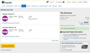 Boston to London: Expedia Booking Page