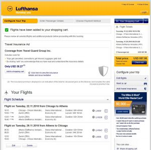 CHI-ATH: Lufthansa Booking Page ($568)