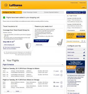 CHI-ATH: Lufthansa Booking Page ($586)