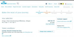 CHI-BOD: KLM Booking Page