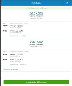 CHI-DEN: Priceline Booking Page ($91)