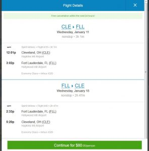 CHI-FLL: Priceline Booking Page ($80)