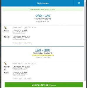 CHI-LAS: Priceline Booking Page