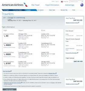 CHI-LUX: American Airlines Booking Page