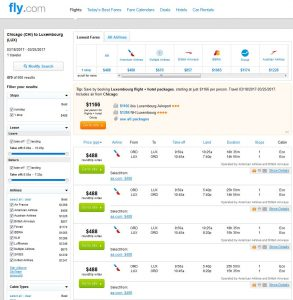 CHI-LUX: Fly.com Search Results
