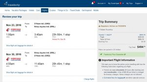 CHI-MNL: Travelocity Booking Page