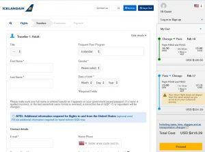 CHI-PAR: Icelandair Booking Page ($416)