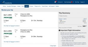 CHI-PHL: Travelocity Booking Page
