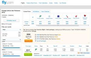 CHI-SFO: Fly.com Search Results ($117)
