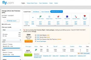 CHI-SFO: Fly.com Search Results