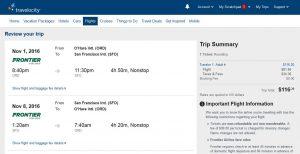 CHI-SFO: Travelocity Booking Page ($117)