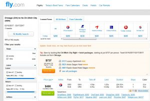 CHI-SGN: Fly.com Search Results