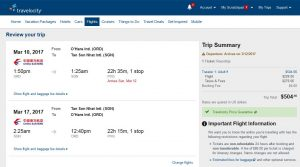 CHI-SGN: Travelocity Booking Page