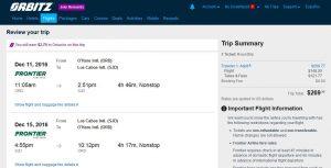 CHI-SJD: Orbitz Booking Page