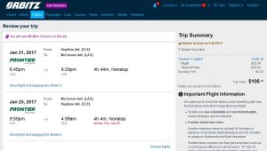 CLE-LAS: Orbitz Booking Page