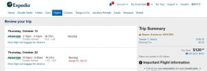 CLE-LAX: Expedia Booking Page ($121)