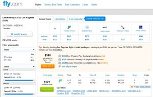 CLE-LAX: Fly.com Search Results ($121)