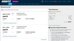 CLE-LAX: Orbitz Booking Page ($117)