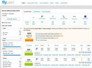DEN-DFW: Fly.com Search Results