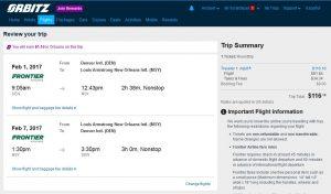 DEN-MSY: Orbitz Booking Page ($117)