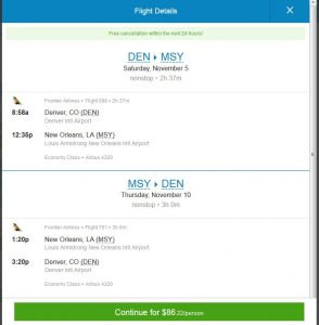 DEN-MSY: Priceline Booking Page ($87)