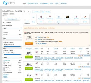 DFW-AUH: Fly.com Search Results (Nov.)