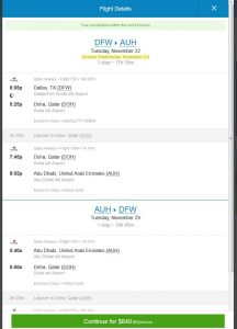 DFW-AUH: Priceline Booking Page (Nov.)