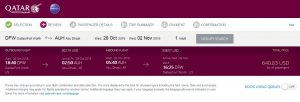 DFW-AUH: Qatar Airways Booking Page