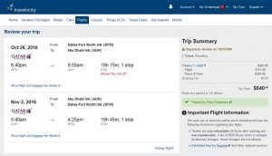 DFW-AUH: Travelocity Booking Page