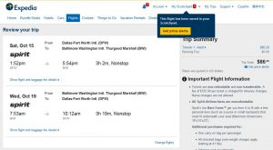 DFW-BWI: Expedia Booking Page