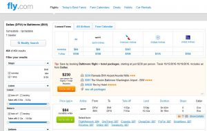 DFW-BWI: Fly.com Search Results