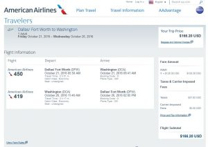 DFW-DCA: American Airlines Booking Page