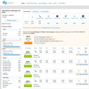 DFW-DCA: Fly.com Search Results