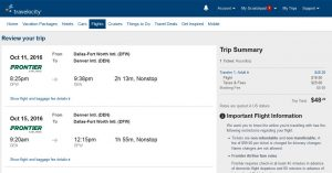 DFW-DEN: Travelocity Booking Page