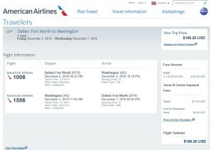DFW-IAD: American Airlines Booking Page