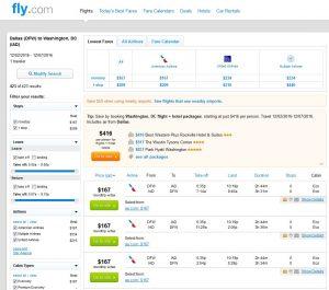 DFW-IAD: Fly.com Search Results