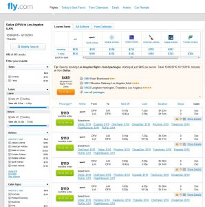 DFW-LAX: Fly.com Search Results ($110)