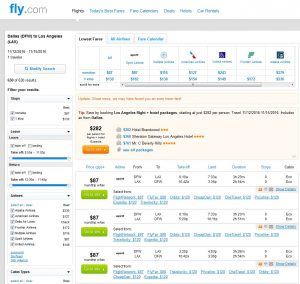 DFW-LAX: Fly.com Search Results ($120)