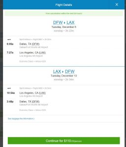 DFW-LAX: Priceline Booking Page ($110)