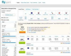DFW-PVG: Fly.com Search Results (Chinese New Year)