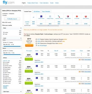 DFW-PVG: Fly.com Search Results (Thanksgiving)