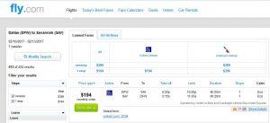 DFW-SAV: Fly.com Search Results