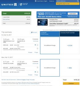 DFW-SAV: United Airlines Booking Page