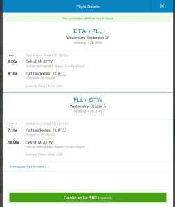 DTW-FLL: Priceline Booking Page ($80)