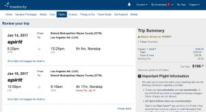 DTW-LAX: Travelocity Booking Page